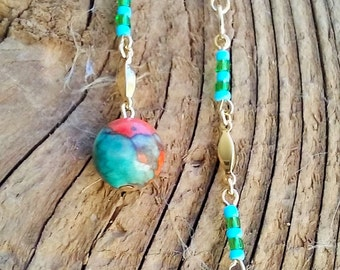 """earrings,gold chain with turquoise,ocean jade bead, 3"""""""