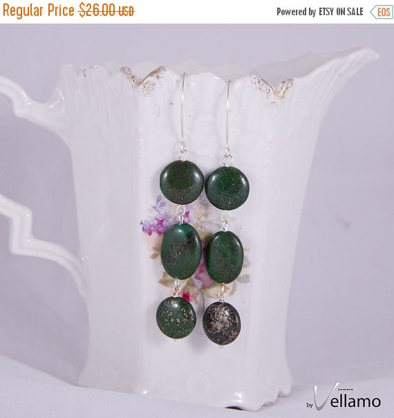 SALE Forest green long sterling silver earrings with dark green stones, golden pyrite inclusions, lapis like stones, marquis shaped hooks