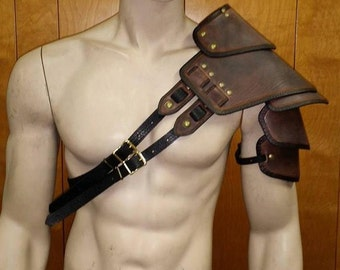 Leather Armor Sentinel Segmented Double Strap Shoulder