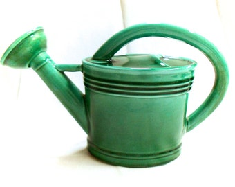 Franor Royale Green Majolica French Vintage Watering Can Pastis Water Pitcher (C093)