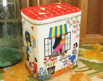Cafe Alfresco Vintage Hinged House Tin made in Great Britain with Flowers, Coffee and Pigeon graphics