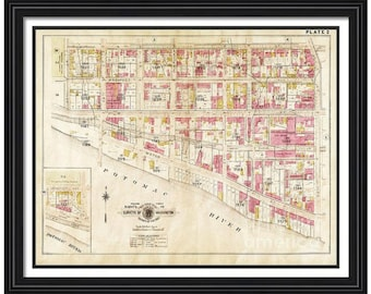 MAP of GEORGETOWN Washington DC 2 in a Vintage Grunge Weathered Antique style