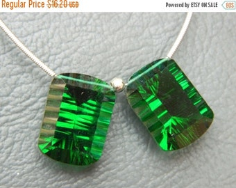 20%off. Matched Pair - Sparkling AAA Emerald Green Quartz  Cone Cave Cut Faceted  Briolettes-Top Quality