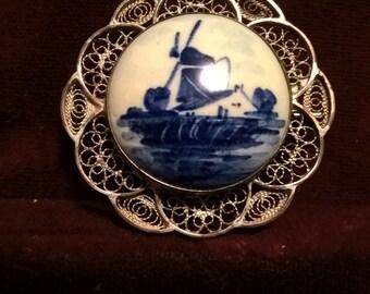Delft, Hand Painted Porcelain Brooch, Set in Sterling Filigree,  Signed