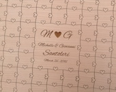 96 pieces Custom Puzzle Wedding Guest Book with Heart Tabs