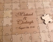 175 Large 2 inch pieces with Heart Tabs Wedding Guest Book Puzzle Guest Book Alternative