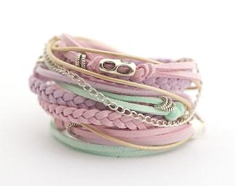 Pastel Colors Boho Wrap Bracelet, Mint Lilac Pink Bracelet, Gypsy Bracelet, Women Bracelet, gift for her, boho chic