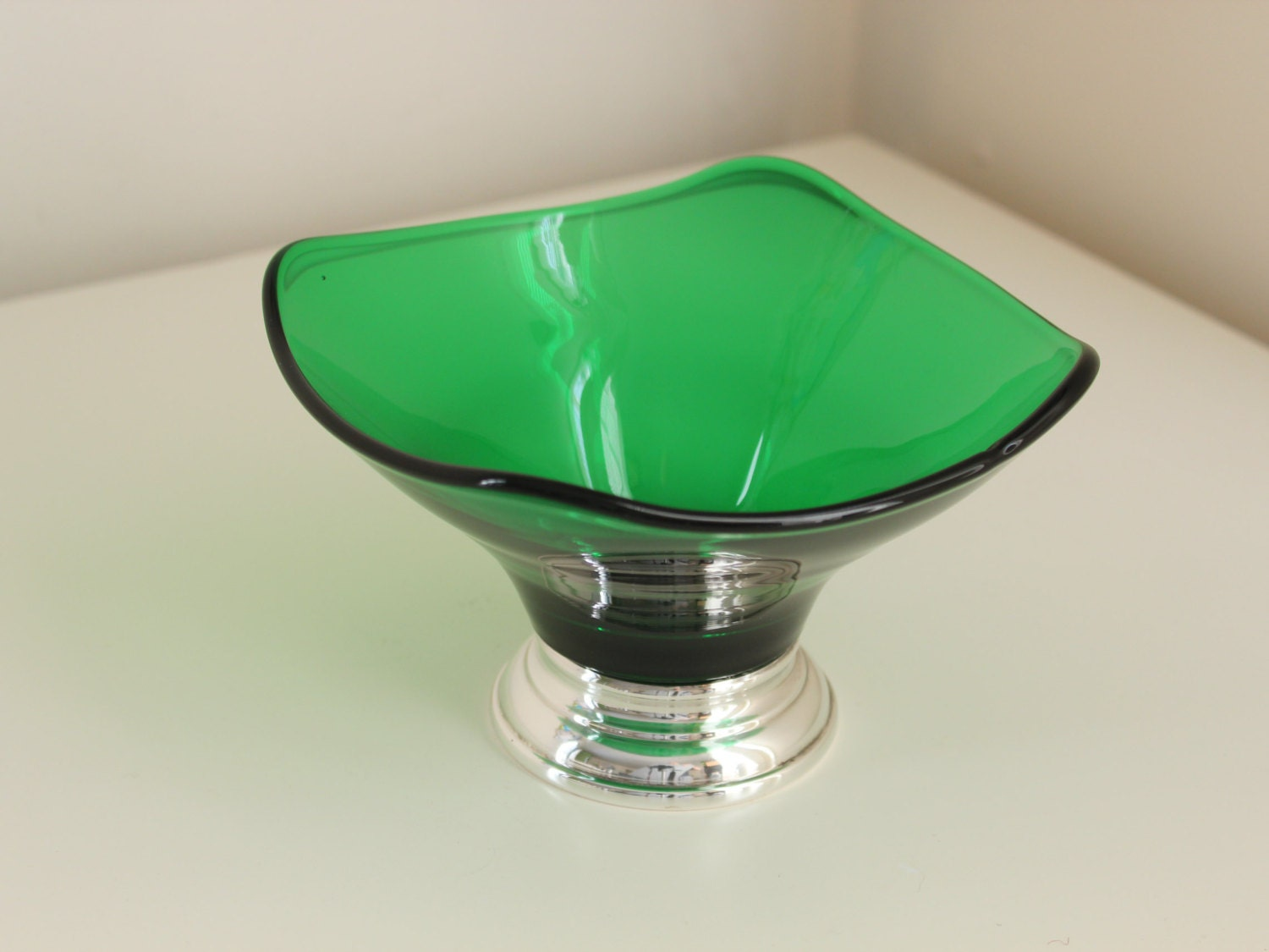 Emerald Green Glass Dish with Silverplate on Copper Foot