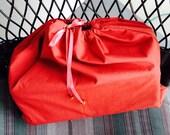 UpCycled Drawstring Shoe Bag, Lightweight Drawstring Lingerie Bag, Rust Color Bag, Find-A-Flaw Item