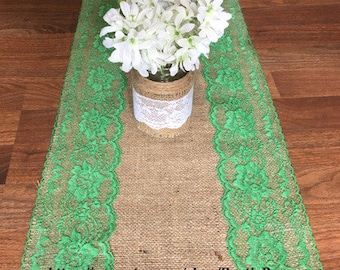Rustic Charm Wedding Burlap and Emerald Lace Runner, Rustic or Vintage wedding, Shabby Chic table runner Bridal shower decor party, events