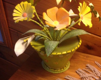 Vintage Mexican Tin Art Flowerpot and Trembling Flowers