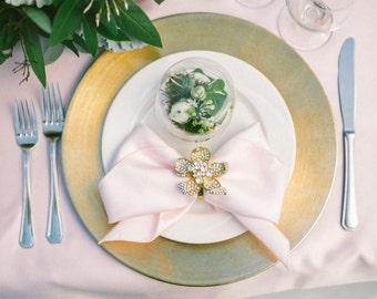 GOLD Large Cymbidium Orchid Rhinestone Napkin Rings, Wedding decoration, crystal brooch napkin rings, gold napkin ring, rhinestone napkin