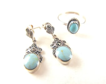 Vintage Earrings Ring Turquoise Sterling Marcasite Dangles Bonus Turquoise  Sterling Ring to Match