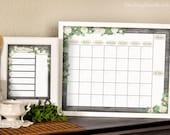 DIY Dry Erase Calendar & Menu Planner- White Roses