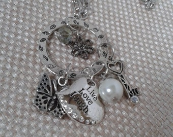 Charm Necklace,  Circle Connector with Butterfly, Heart, Key, Pearl, Crystal and Flower Charms with All Antique Silver Jewelry