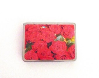 Vintage Tin Box USA Delight Model 555 Cigarette Tin with Red Roses