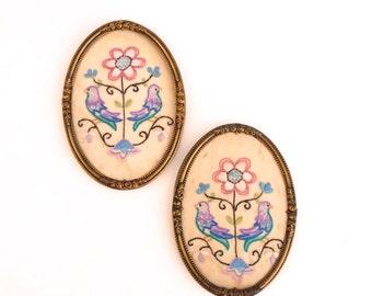 Vintage Framed Embroidery Floral Bird Motifs