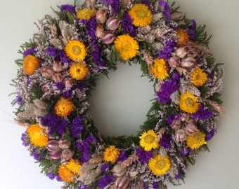 Purple and Yellow Dried Flower Spring Wreath/ Summer wreath