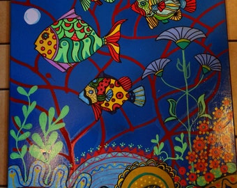 """Fiesta Fish. 18"""" X 24"""" gallery wrapped canvas"""