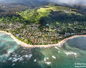 Aerial View of Sunset Beach, North Shore, Oahu, Hawaii