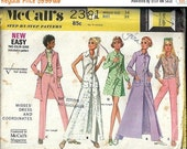 ON SALE VTG McCall's 2381 Misses Dreess and Coordinates Pattern, Pants, Dress and Top, Size 14 Uncut