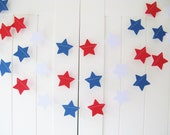 Red White and Blue Garland - 10ft Long - Star Garland, Patriotic Decoration, Paper Star Garland, 4th of July Decor, Labor Day Decoration