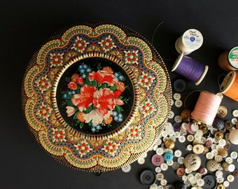 Vintage Daher Design Embossed Round Tin Tole Design Candy Box, Biscuit Can, Sewing Box