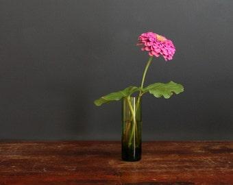 Vintage Mod Green Glass Vase, Cylinder Bub Vase