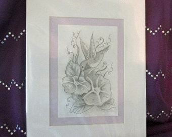 Hummingbird with Morning Glories Matted ready to frame original pencil sketch 4x6 drawing art by Ronne