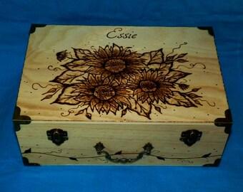 Decorative Wedding Box Card Box Holder Wood Burned Suitcase Envelope Keepsake Trunk Large Reception Box Personalized Sunflower Wedding Gift