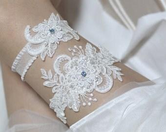 Something blue garter set, bridal garter belt, lace garter set,  white garter set, bridal lingerie, Swarovski blue stone garter set