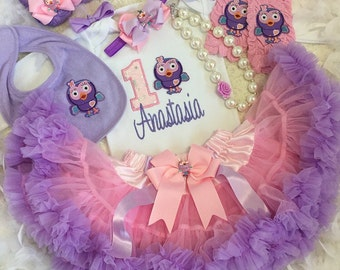 3-pcs Set Hootabelle inspired Birthday outfit-Include Personalised Top,super fluffy skirt and matching headband