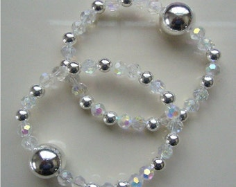 """Queasy Beads™ Motion Sickness Bracelets in """"Crystal Fantasy"""" with large sterling silver beads"""