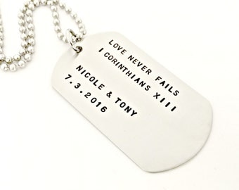 Personalized Dog Tag Necklace - Hand Stamped Mens Necklace - Custom Mens Jewelry Traditional Military Style - Wedding Day, Anniversary Gift