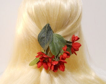 Cherry Blossom Hair Clip Spring Red Flower Red Cherry Blossom Sakura Hanging Flowers Wedding Flower Girl Spring Bride Romantic Mori Kawaii