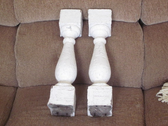 pair large chunky antique old house balusters spindles