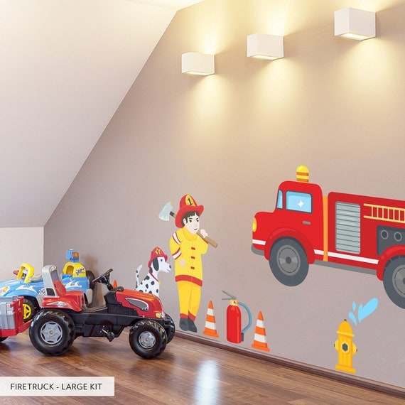 Firetruck printed wall decal kids room wall decor for Fire truck bedroom ideas
