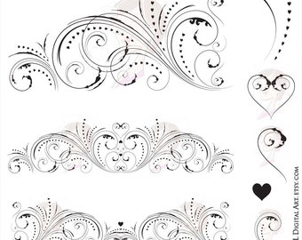 Flourish Clipart Floral VECTOR Vintage Curls Classic Heart Clip Art Commercial Use Wedding Digital Graphics Jpeg Png Images Files 10730