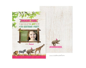 Zoo THANK YOU Card, Personalized with Photo, DIY Printable, Zoo Birthday Party, Safari Party