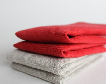 Linen Facecloth Set of 4 in Red and Natural, Exfoliation Facecloths, Natural Beauty