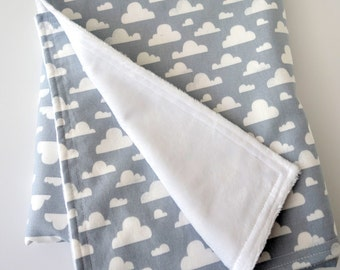 Baby or Toddler Blanket for Boy or Girl, Gender Neutral - Clouds on Gray / Grey Cotton, White Minky Back, 28 x 35 inches