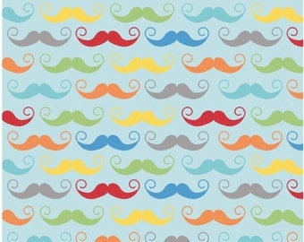 Mustache Aqua - 1/3 yard - Cotton Fabric - Riley Blake Designs