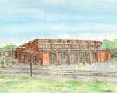 Roundhouse B&O Railroad Watercolor Print, Brunswick Maryland Art, Train Yard Painting, Locomotive Engine Station, Tracks, Frederick Picture