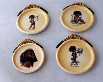 Antique Aboriginal Artist Brownie wall plates set of 4 self portrait of African Artist