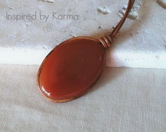 Carnelian Leather, Bohemian Necklace, Boho Necklace, Carnelian Necklace, Leather Necklace, Gifts for her, Gifts under 40, Gemstone Necklace