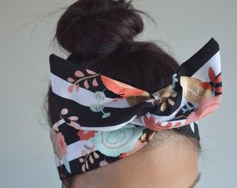 Mint coral bow, stripe Dolly bow Headband, hair bow head band