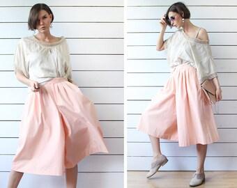 BURBERRY Vintage peach pink cotton wide leg palazzo short capris culottes skirt short pants S