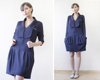 REISS vintage navy blue white nautical style long sleeve pocketed sun midi dress L