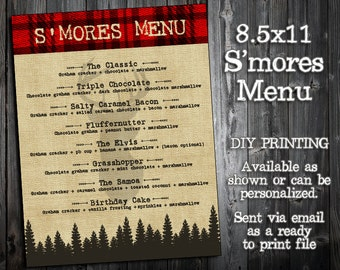 The Little Hunter Collection - S'mores Menu Printable - Hunting, Camp Out Themed Party - Deer Elk Arrows Plaid