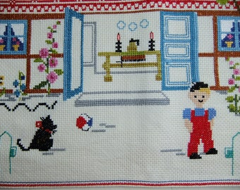 Vintage Swedish 1960s hand embroidered wall hanging in cross stitch  Cat - House - Boy